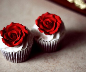 cupcake, rose, and red image