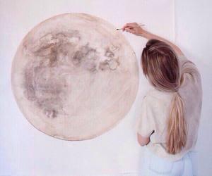 moon, art, and girl image