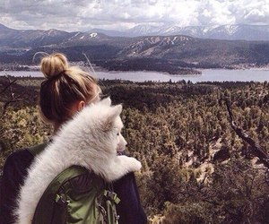 dog, girl, and nature image