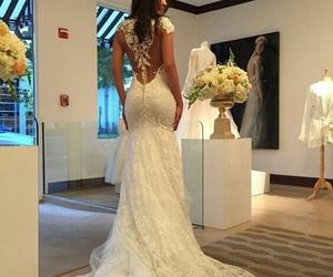 wedding dress, fashion, and dress image
