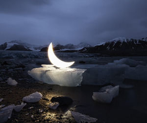 moon, night, and ice image