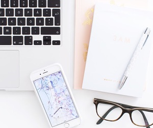 iphone, white, and glasses image