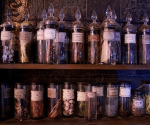 bottles, harry potter, and herbs image