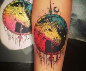 unicorn, unicorntattoo, and neotraditionaltattoo image