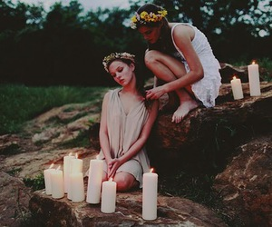 girl, candle, and flowers image