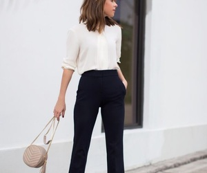 white blouse, bell pants, and tailor pants image