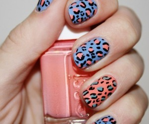bright, leopard, and nail art image
