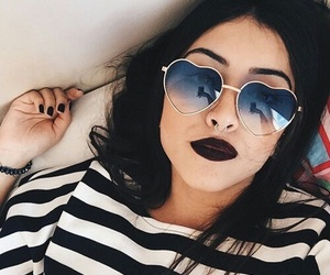 girl, black, and sunglasses image
