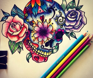 art, candy skull, and colors image