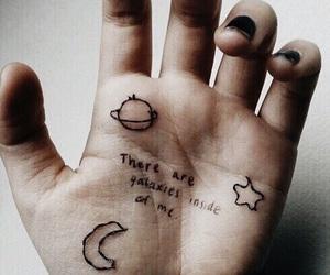 grunge, galaxy, and hand image