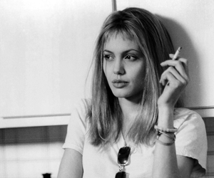 Angelina Jolie, girl interrupted, and black and white image