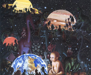 planet, universe, and baby image