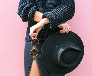 fashion, black, and hat image
