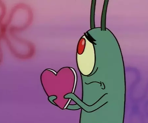 heart, plankton, and spongebob image