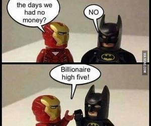 batman, funny, and iron man image