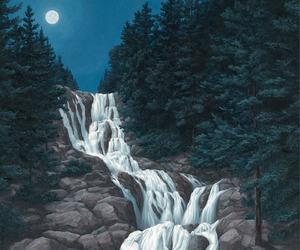 art, waterfall, and water image