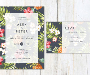 card, palm leaves, and wedding invitation image