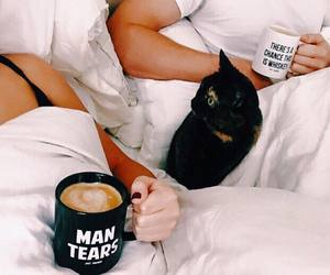 actress, bed, and black cat image