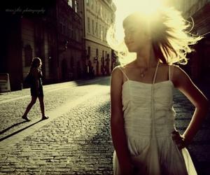 girl, street, and dress image
