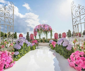 arch, flowers, and gates image