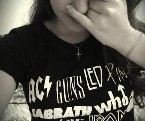 black and white, girl, and rock image