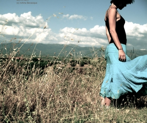 blue, field, and girl image