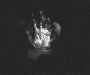 hand, black and white, and pain image