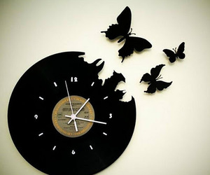 clock, photography, and butterfly image