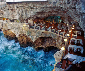 restaurant, italy, and sea image