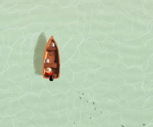 art, boat, and crystal clear water image
