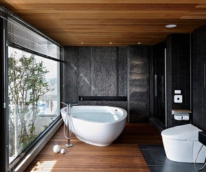 bathroom, house, and black image