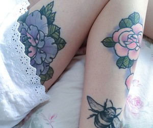 flowers, tattoo, and grunge image