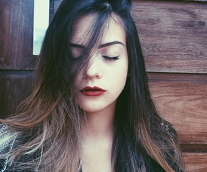 beauty, eyebrows, and redlipstick image