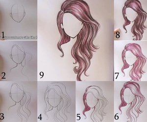 art, hair, and draw image