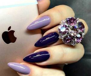 nails, purple, and iphone image