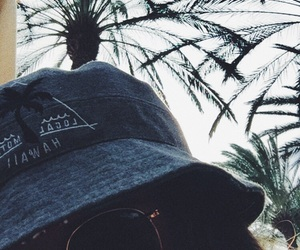 girl, hat, and palms image