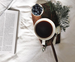 coffee, blueberry, and book image