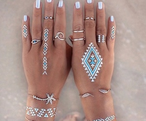 nails, tattoo, and summer image