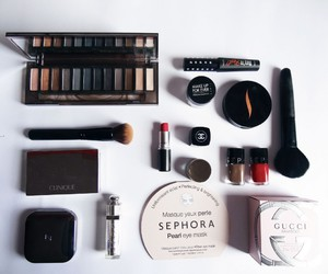 desk, makeup, and beauty products image