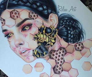 art, beautiful, and bee image