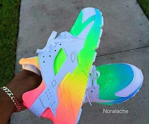 nike, shoes, and rainbow image