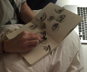 drawing, eyes, and grunge image