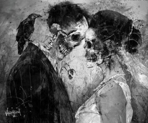 love, skull, and couple image