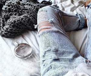 bed, denim, and luxury image