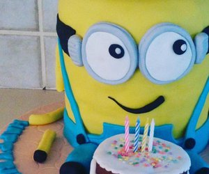 birthday, birthday cake, and minions image