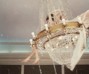 chandelier, aesthetic, and gold image