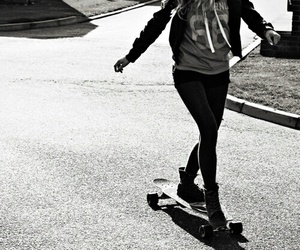 girl, black and white, and longboard image