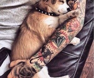 tattoo, dog, and puppy image