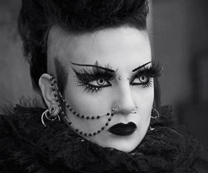 gothic, black and white, and deathrock image
