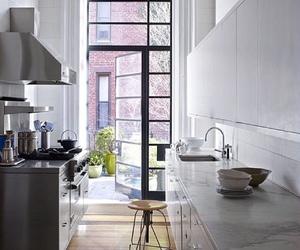 Greys, kitchen, and wood floors image